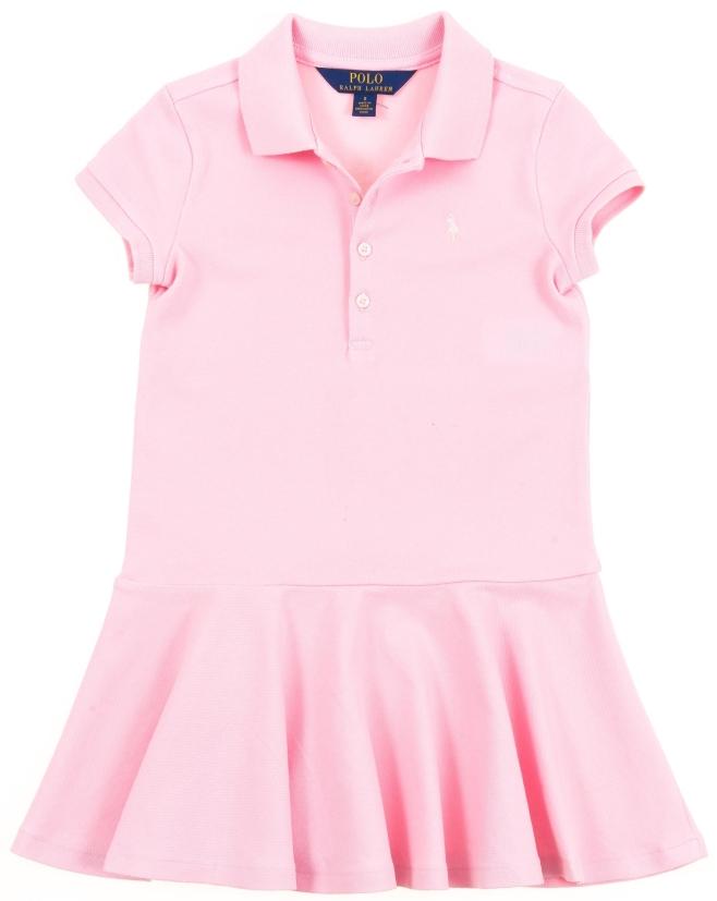 4286e38ecc Kolorowe bawełniane sukienki z kołnierzykiem polo dla dziewczynek Polo Ralph  Lauren idealnie nadają się na różne okazje. Góra sukienki prosta oraz ...